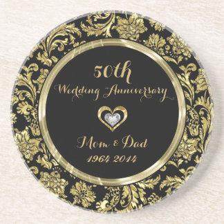 Black And Gold Damasks 50th Wedding Anniversary 2 Coaster