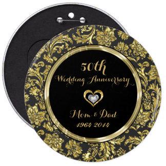 Black And Gold Damasks 50th Wedding Anniversary 2 Pinback Button