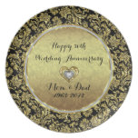 Black And Gold Damasks 50th Wedding Anniversary Party Plates