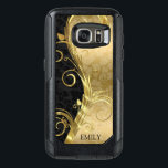 "Black And Gold Damasks Gold Swirls OtterBox Samsung Galaxy S7 Case<br><div class=""desc"">Monogrammed black and gold floral damasks with metallic gold floral swirls.</div>"