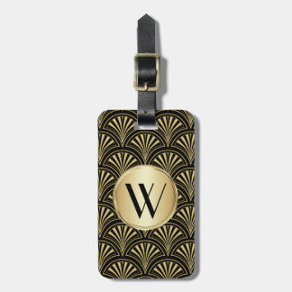 Black and Gold Deco Fan Monogrammed Bag Tag