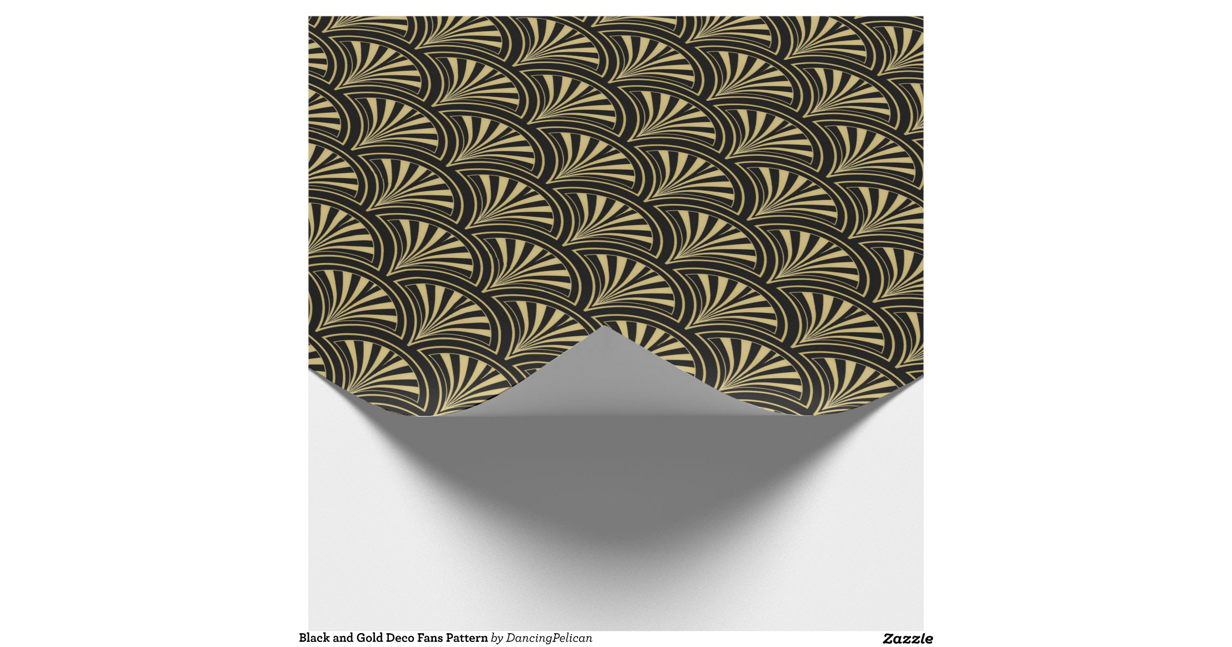 black and gold deco fans pattern wrapping paper r5d82f30dcee54a7c93a79ed5cf07f7dd zkehq 8byvr. Black Bedroom Furniture Sets. Home Design Ideas
