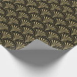 Black And Gold Deco Fans Pattern Wrapping Paper at Zazzle
