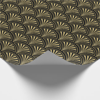 Black and Gold Deco Fans Pattern Gift Wrap