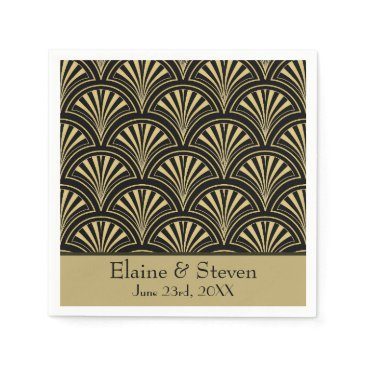 dancingpelican Black and Gold Deco Fans Personalized Napkin