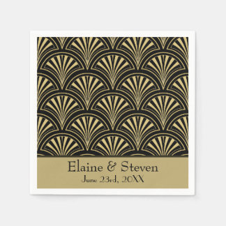 Black and Gold Deco Fans Personalized Standard Cocktail Napkin