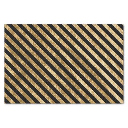 Black and Gold Diagonal Stripe Foil Look Tissue Paper