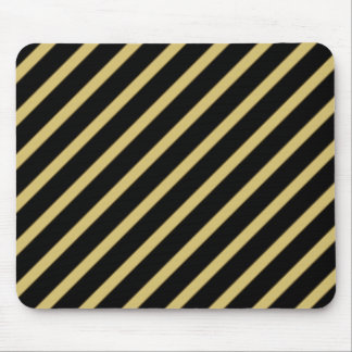 Black and Gold Diagonal Stripes Mouse Pad