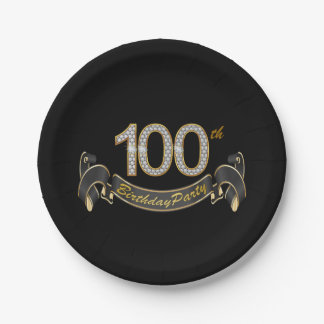 Black and Gold Diamond 100th Birthday Party 7 Inch Paper Plate