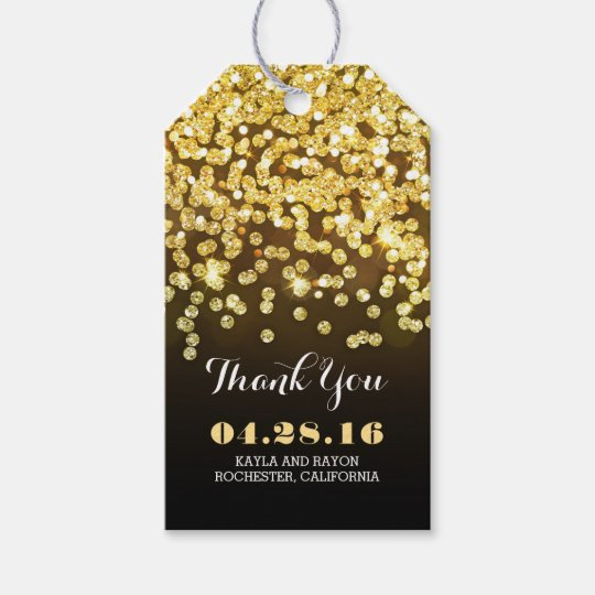 Wedding Thank You Gift Tags: Black And Gold Diamonds Wedding Thank You Gift Tags