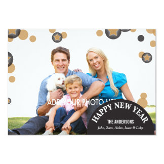 Black and Gold Dots & Stars Photo New Year's Card