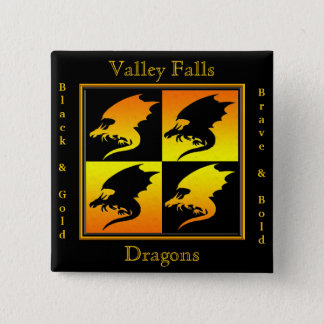 Black and Gold Dragons Pinback Button