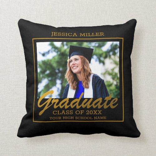Black And Gold Dream Big Graduation Photo Throw Pillow