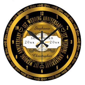 Black and Gold Elegant 1st Wedding Anniversary Large Clock