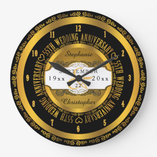 Black and Gold Elegant 55th Wedding Anniversary Large Clock