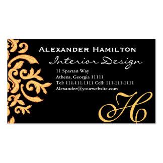 Black and Gold Elegant Baroque Damask for Him Business Card