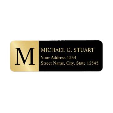 Professional Business Black and Gold Elegant Monogram Label