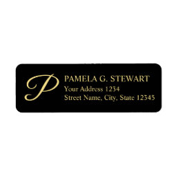 Black and Gold Elegant Monogram Label