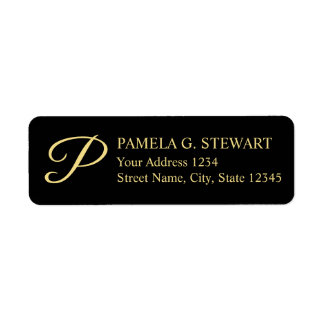 Black and Gold Elegant Monogram Label
