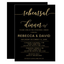 black and gold Elegant Script Rehearsal Dinner Card