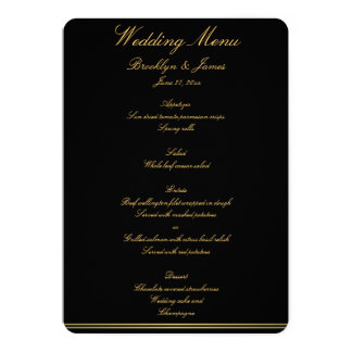 Black And Gold Elegant Wedding Menu Invites