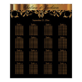Black and  Gold Element Design - 16 Seating Chart