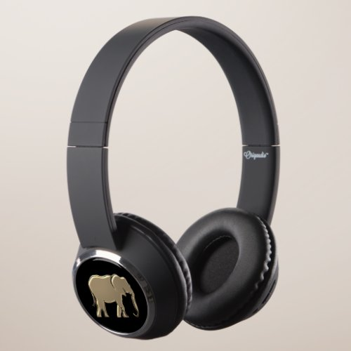 Black and Gold Elephant Silhouette Simple Modern Headphones