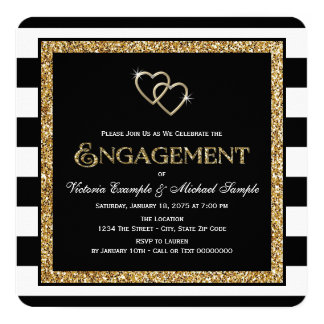 Black and Gold Engagement Party Card