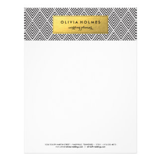 Black and Gold Faux Foil Chevron Letterhead