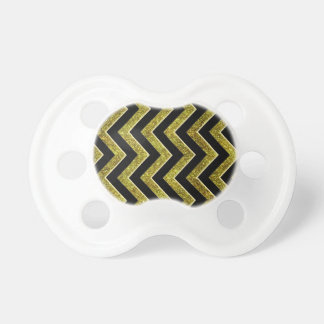 Black and gold faux glitter chevron pacifiers
