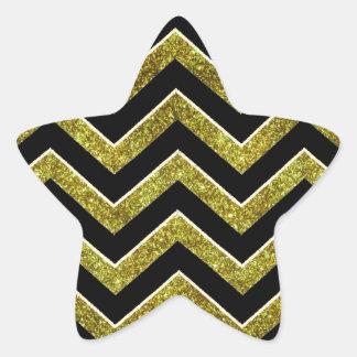 Black and gold faux glitter chevron star sticker