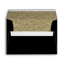 black and Gold FAUX glitter Envelope