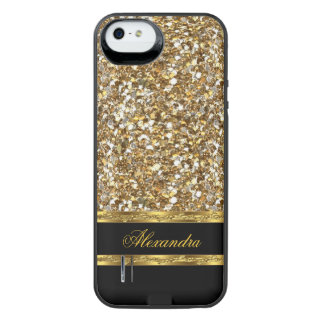 Black and Gold Faux Glitter iPhone SE/5/5s Battery Case