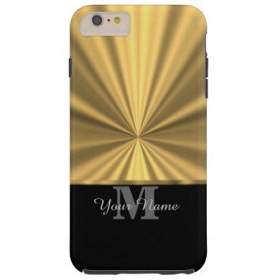 Black and gold faux metallic monogram tough iPhone 6 plus case