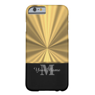 Black and gold faux metallic monogram barely there iPhone 6 case
