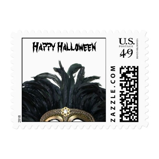 Black and Gold Feather Mask Halloween Postage