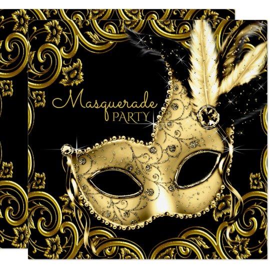 Black And Gold Feather Mask Masquerade Party Invitation Zazzle Com