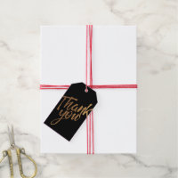 Black and Gold Flecks Wedding Thank You Gift Tag