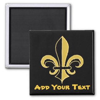 Black and Gold Fleur de lis 2 Inch Square Magnet
