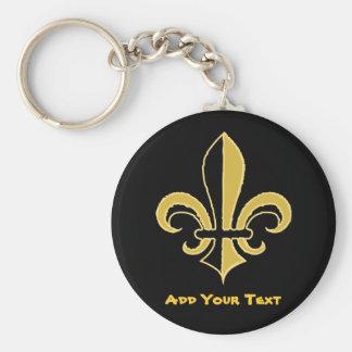 Black and Gold Fleur de lis Basic Round Button Keychain