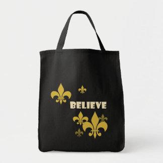 Black and Gold Fleur de Lis Believe Tote Bags