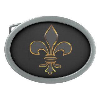 Black and Gold Fleur-de-Lis Belt Buckles