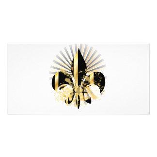 Black and Gold Fleur de Lis Card