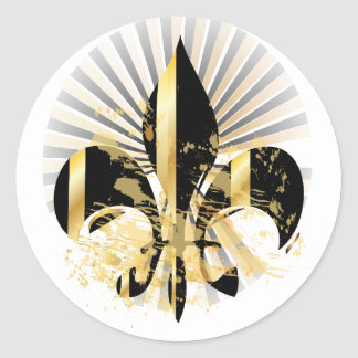 Black and Gold Fleur de Lis Classic Round Sticker