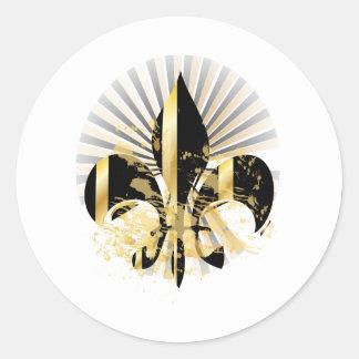 Black and Gold Fleur de Lis Classic Round Sticker