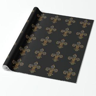 Black and Gold Fleur-de-lis Gift Wrap Paper