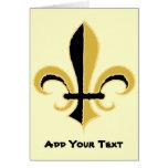 Black and Gold Fleur de lis Greeting Cards