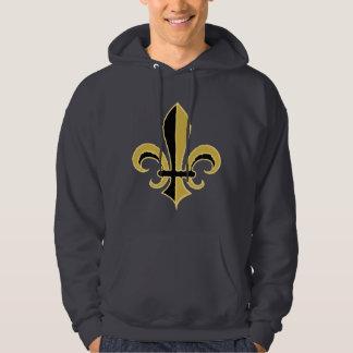 Black and Gold Fleur de lis Hooded Sweatshirt