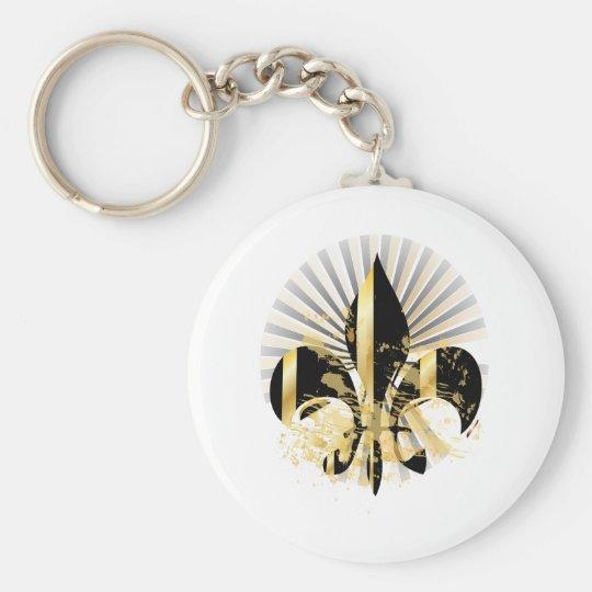 Black and Gold Fleur de Lis Keychain