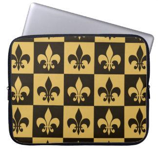 Black and Gold Fleur de lis Laptop Computer Sleeves